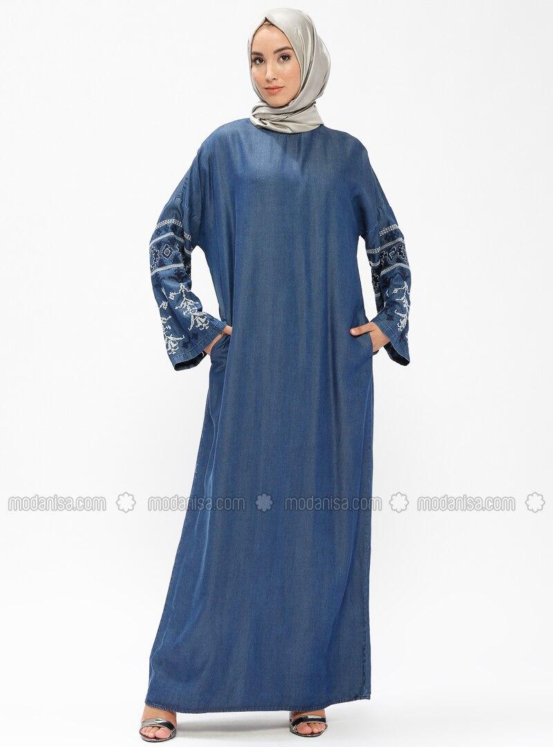 Blue - Unlined - Crew neck - Denim - Abaya