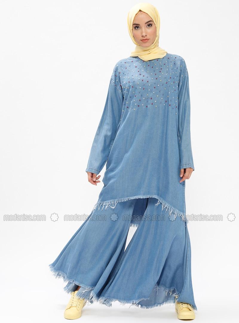 Blue - Unlined - Denim - Suit