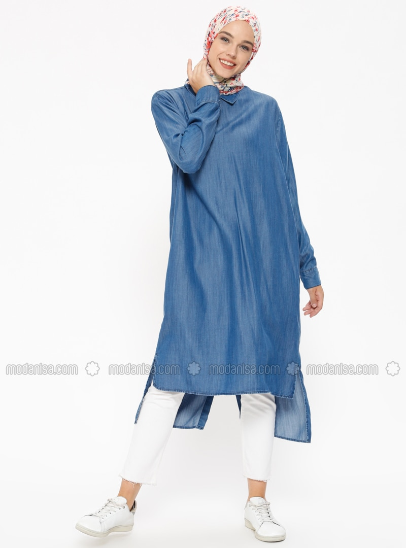 Blue - Navy Blue - Point Collar - Cotton - Denim - Tunic
