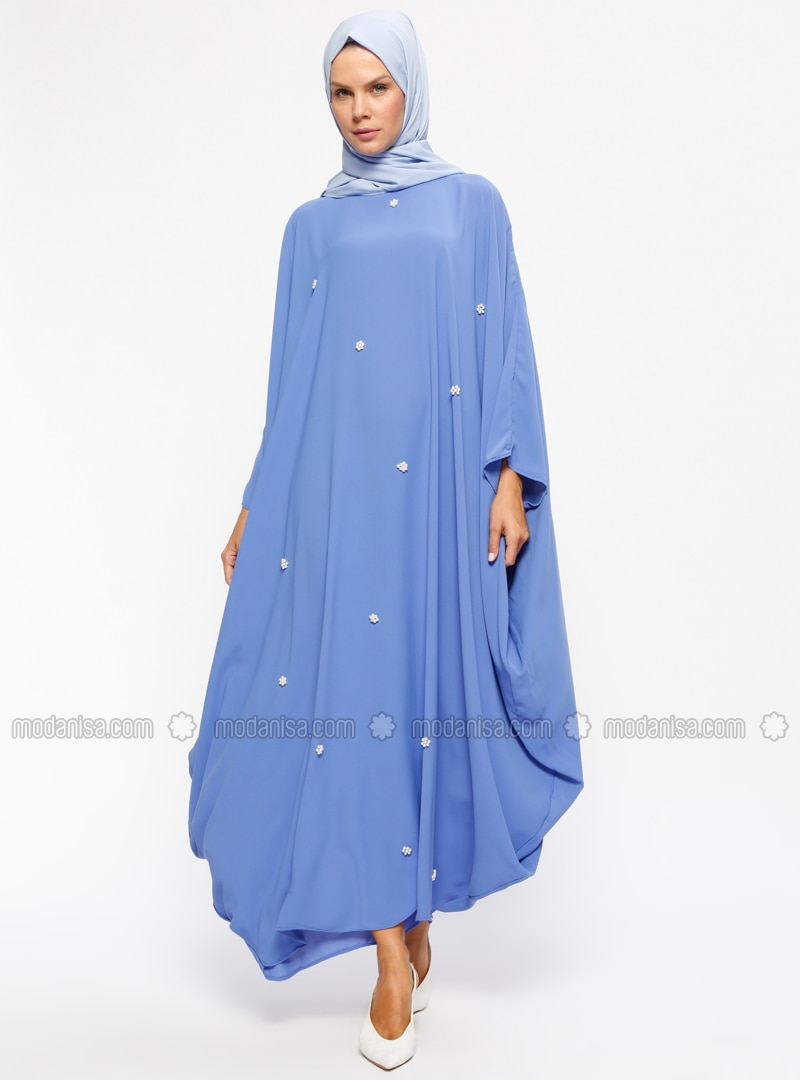 Blue - Unlined - Crew neck - Abaya