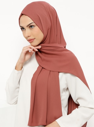 Brown - Terra Cotta - Plain - Crepe - Shawl
