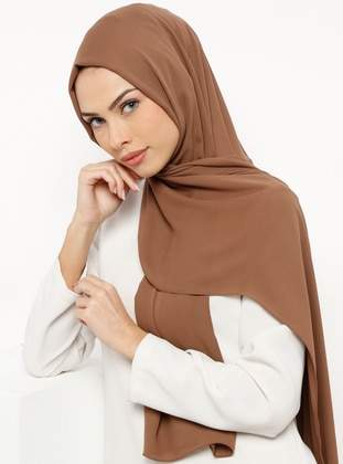 Brown - Plain - Crepe - Shawl - Tuva Şal