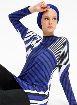 Black - Saxe - Stripe - Crew neck - Tunic