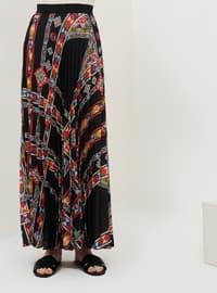 Black - Multi - Unlined - Skirt