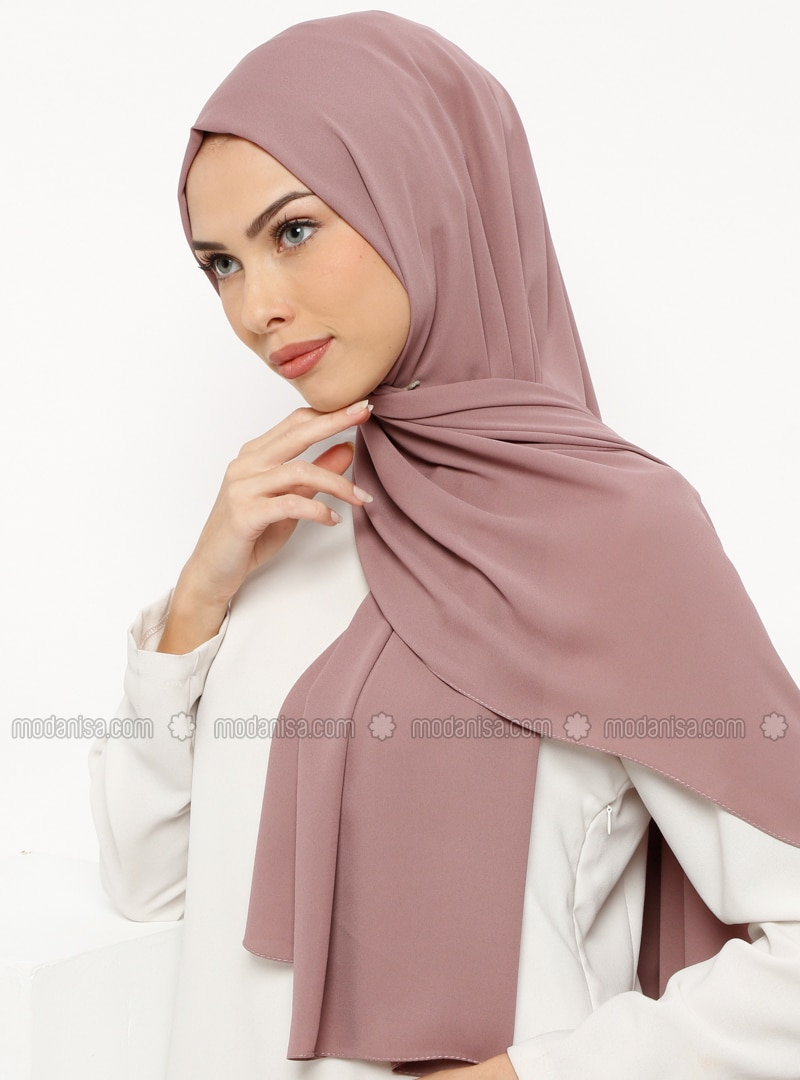 Dusty Rose - Plain - Crepe - Shawl