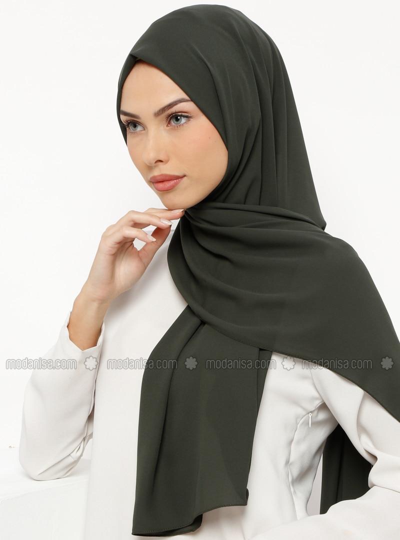 Khaki - Plain - Crepe - Shawl