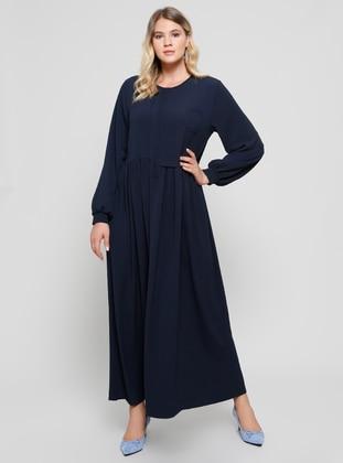 Navy Blue Unlined Crew Neck Plus Size Dress