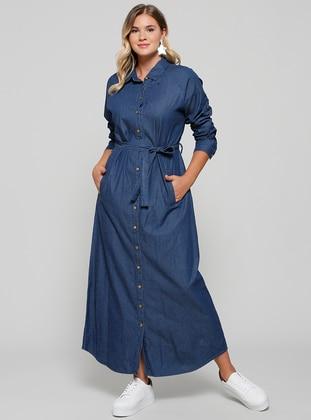 Navy Blue Unlined Point Collar Cotton Denim Plus Size Dress
