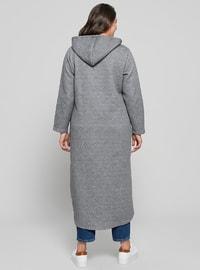 Gray - Unlined - Cotton - Plus Size Coat