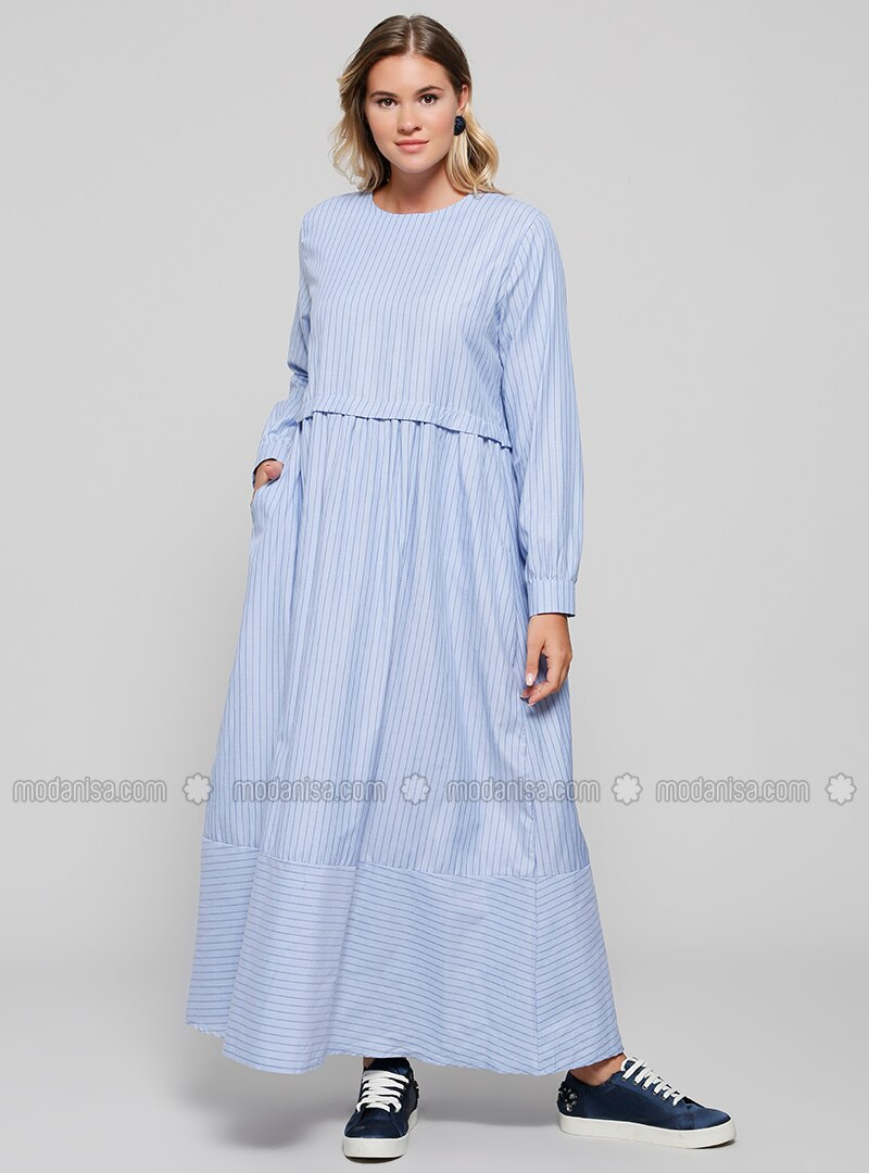 Blue - Stripe - Unlined - Crew neck - Plus Size Dress
