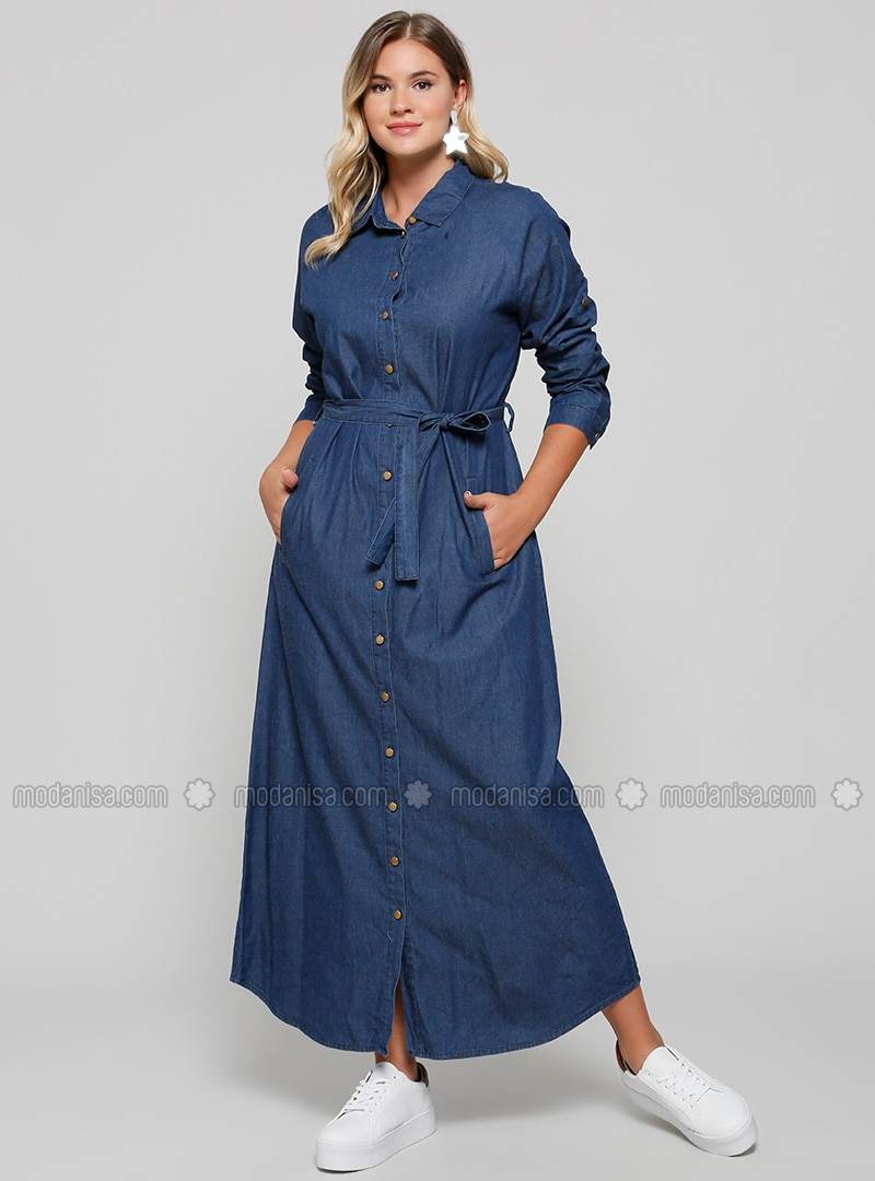 Navy Blue - Unlined - Point Collar - Cotton - Denim - Plus Size Dress