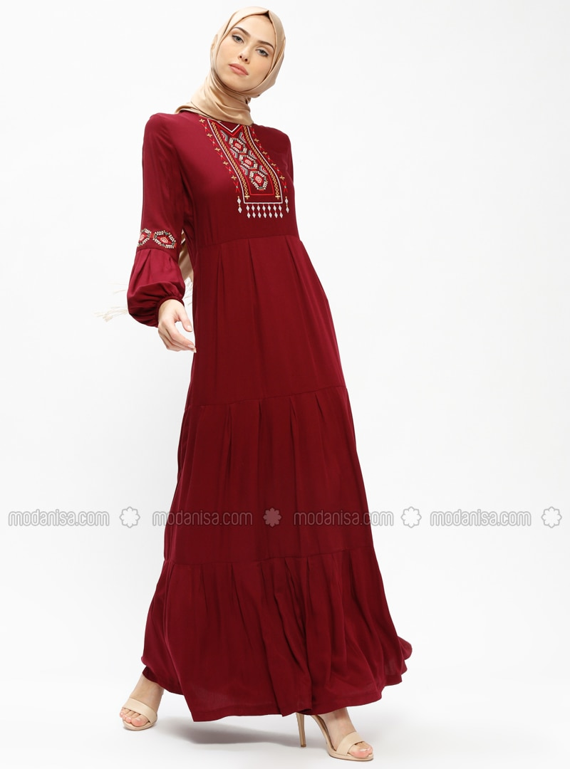 Maroon   Crew Neck   Unlined   Dresses   Ginezza by Modanisa