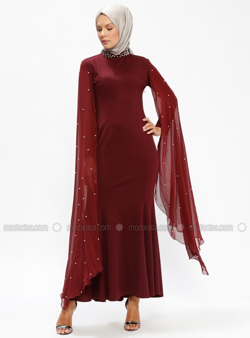 1c21ffb660 Maroon - Unlined - Crew neck - Muslim Evening Dress