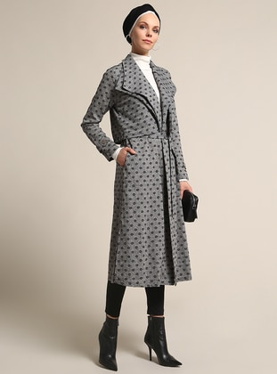Black - Checkered - Multi - Unlined - Shawl Collar - Trench Coat