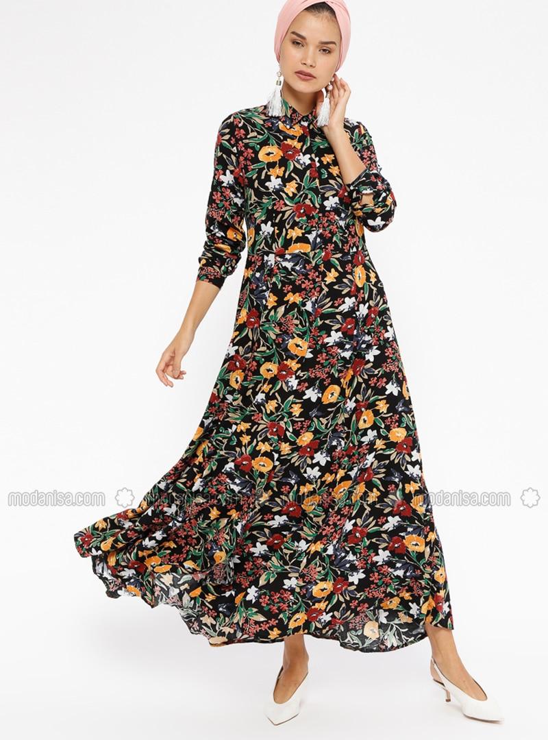 sports shoes f33d2 10322 Schwarz - Gelb - Blumenmuster - Spitzer Kragen - Ohne Innenfutter - Viskose  - Hijab Kleid