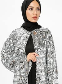 Silver tone - Multi - Fully Lined - Crew neck - Abaya - AL HANNA
