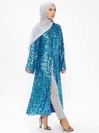 Blue - Multi - Fully Lined - Crew neck - Abaya - AL HANNA