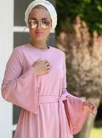 Pudra - Yuvarlak yakalı - Astarsız kumaş - Elbise