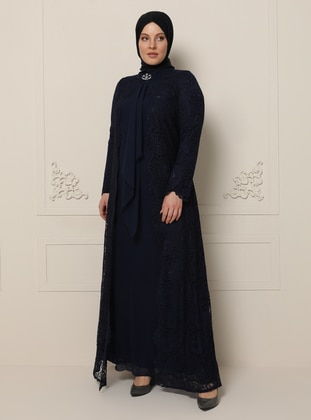 Navy Blue - Fully Lined - Polo neck - Muslim Plus Size Evening Dress