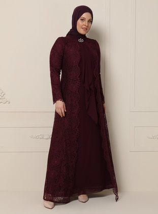 Plum - Fully Lined - Polo neck - Muslim Plus Size Evening Dress