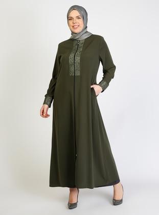 Khaki - Unlined - Crew neck - Abaya - Jamila