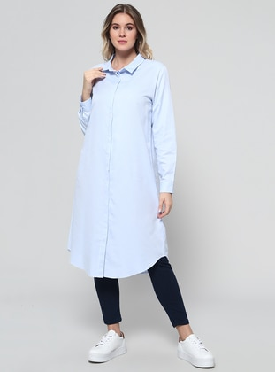 Baby Blue – Point Collar – Plus Size Tunic – Alia