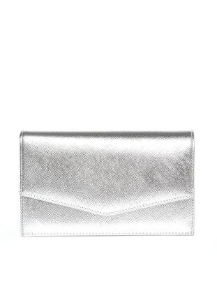 Varolli Portföy&El Çantası - Prada Gümüş