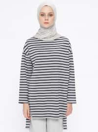 Gray - Stripe - Crew neck - Tunic