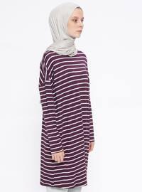 Purple - Stripe - Crew neck - Tunic