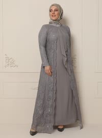 Gray - Fully Lined - Polo neck - Muslim Plus Size Evening Dress