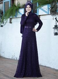 Plum - Fully Lined - Crew neck - Muslim Evening Dress