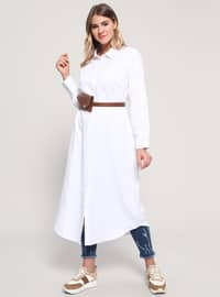 White - Point Collar - Plus Size Tunic