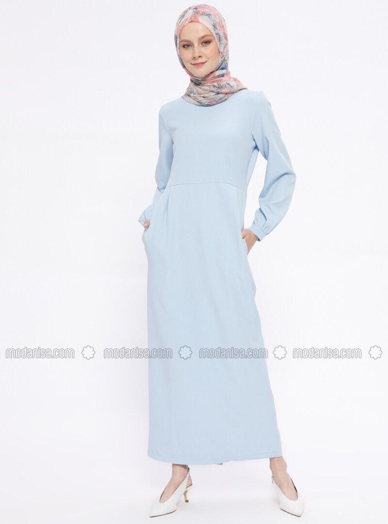 Blue - Crew neck - Unlined - Dresses