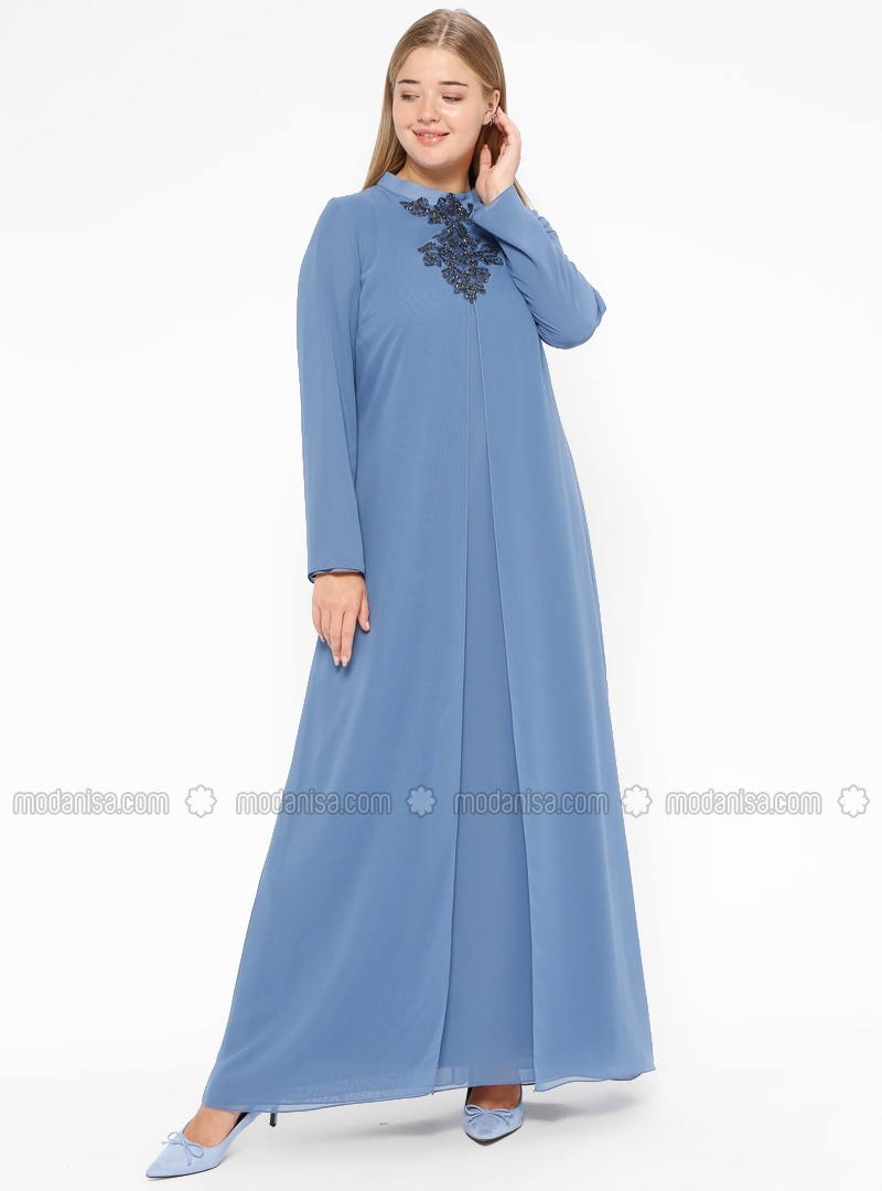 Saxe - Fully Lined - Polo neck - Muslim Plus Size Evening Dress