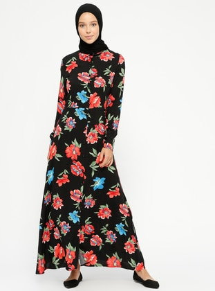 Red - Black - Floral - Point Collar - Unlined - Dresses