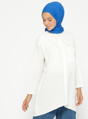 Gizli Düğmeli Tunik - Beyaz - PİLİSE Ürün Resmi