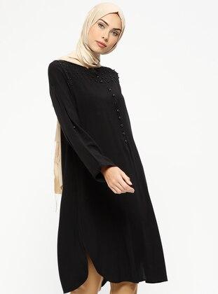 Black - Button Collar - Tunic