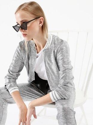 Simli Kısa Bomber Ceket - Gümüş - İkoll Ürün Resmi