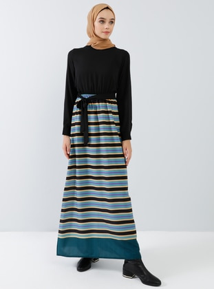 Black - Stripe - Crew neck - Unlined - Dresses