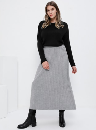 Gray - Unlined - Acrylic - Plus Size Skirt