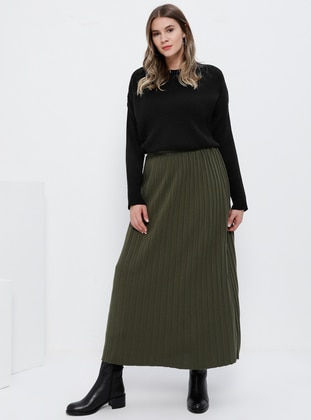 Khaki - Unlined - Acrylic - Plus Size Skirt