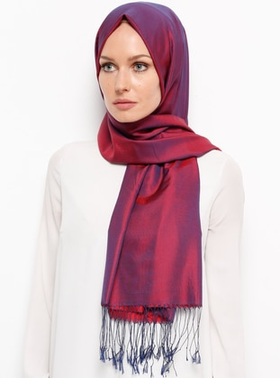 Red - Maroon - Plain - Fringe - %100 Silk - Shawl