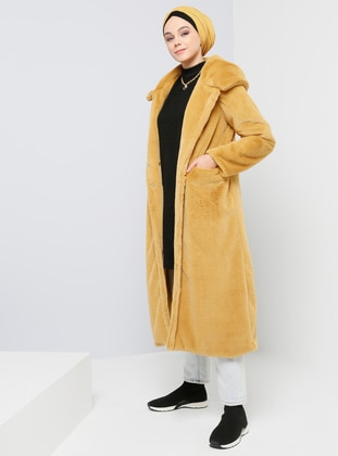 Yellow - Mustard - Fully Lined - Shawl Collar - Coat