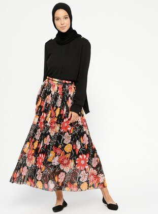 Black – Floral – Fully Lined – Skirt – Pilise