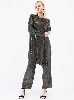 İkoll Pul Payetli Tunik&Pantolon İkili Takım - Gold