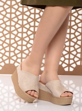 Beige – Sandal – Slippers – Shoestime
