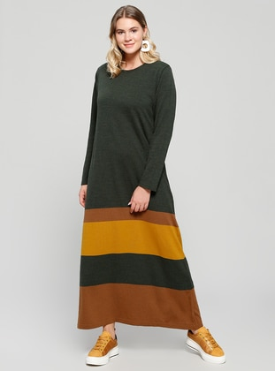 Brown - Khaki - Unlined - Crew neck - Acrylic - Plus Size Dress - Alia
