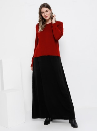 Red - Black - Unlined - Crew neck - Acrylic - Plus Size Dress