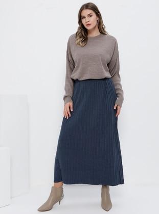 Blue - Indigo - Unlined - Acrylic - Plus Size Skirt
