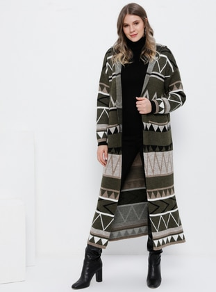 Khaki - Multi -  - Plus Size Cardigan - Alia